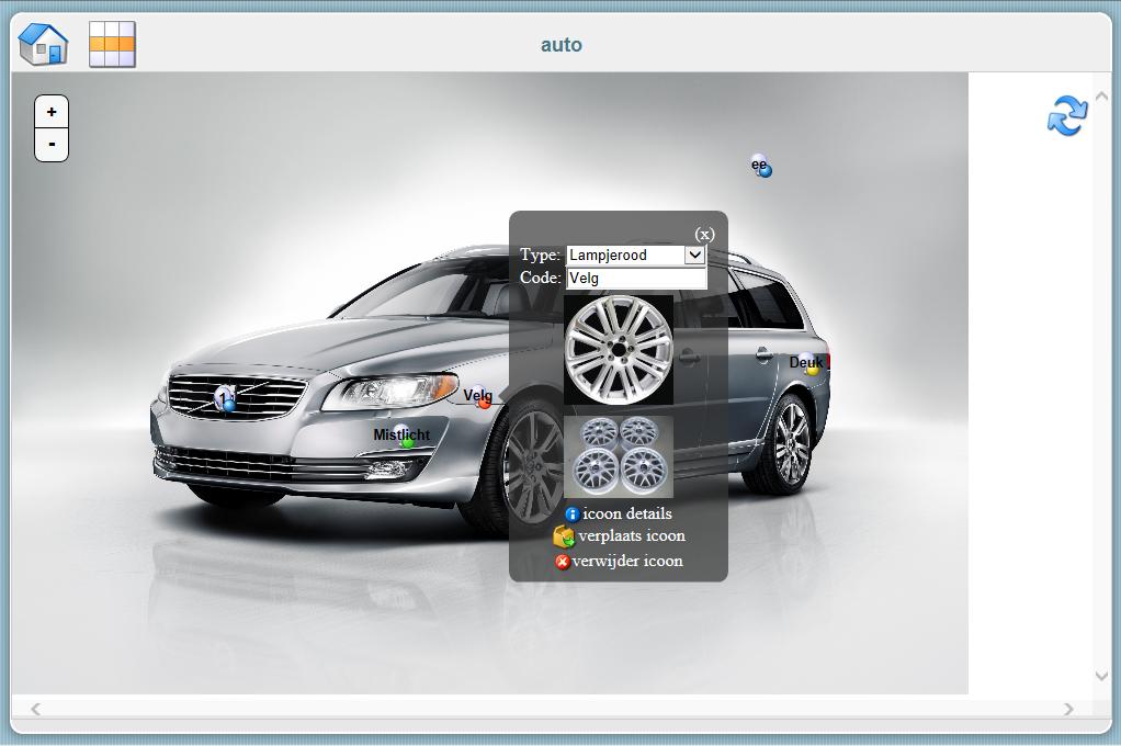 Auto met inspectie info