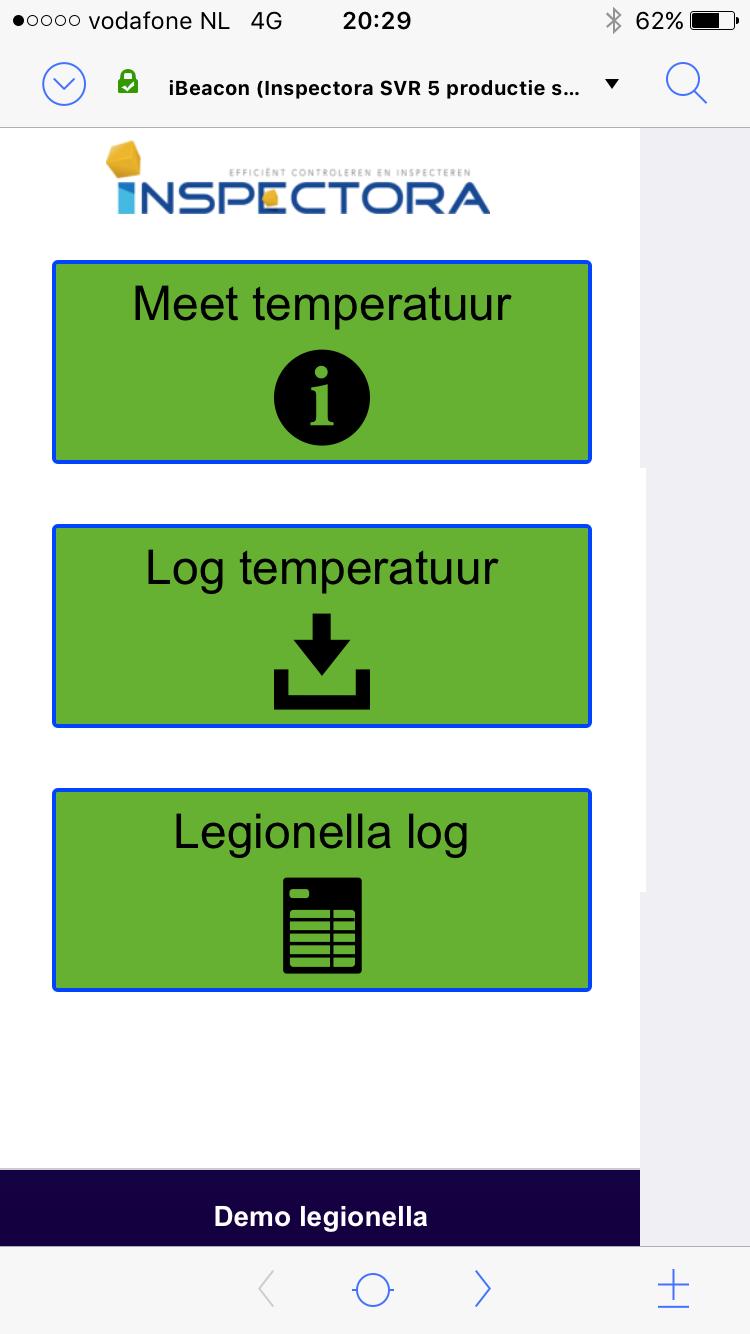 Start scherm temperatuur meter